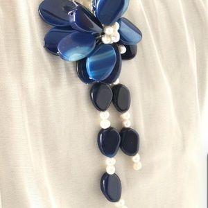 Nautical Pearl Blue Agate Tassel Asian Design